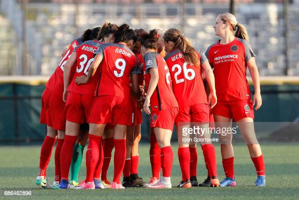 Portand huddles up during an NWSL regular season match between the Boston Breakers and Portland Thorns FC on May 19 at Jordan Field in Boston...