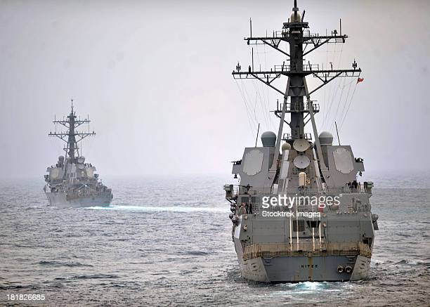 USS Porter and USS Nitze participate in a simulated strait transit exercise.