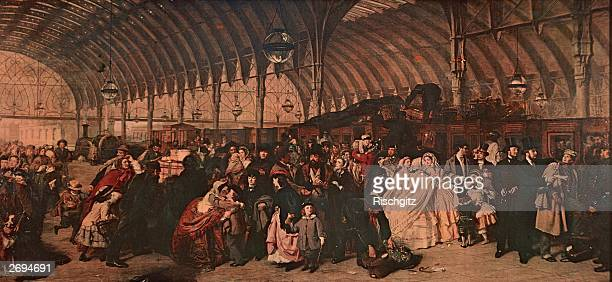 Porters assist passengers with their baggage at Paddington Railway Station in London Original Artwork Painting by William Powell Frith