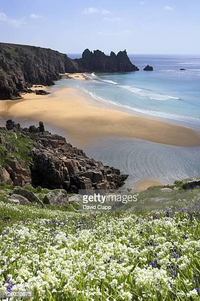 Porthcurno Beach at low tide with Three Cornered Leak, Porthcurno, Cornwall, UK