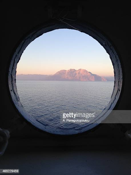 Porthole looking out on to Corinth Canal