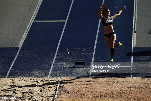 Portia Bing of New Zealand competes in the womens open heptathlon long jump during day six of the Australian Athletics Championships at Sydney...