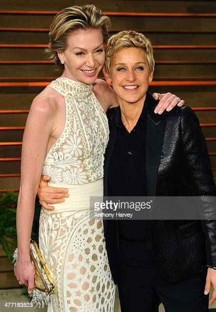 Portia de Rossi and TV personality Ellen DeGeneres attends the 2014 Vanity Fair Oscar Party hosted by Graydon Carter on March 2 2014 in West...