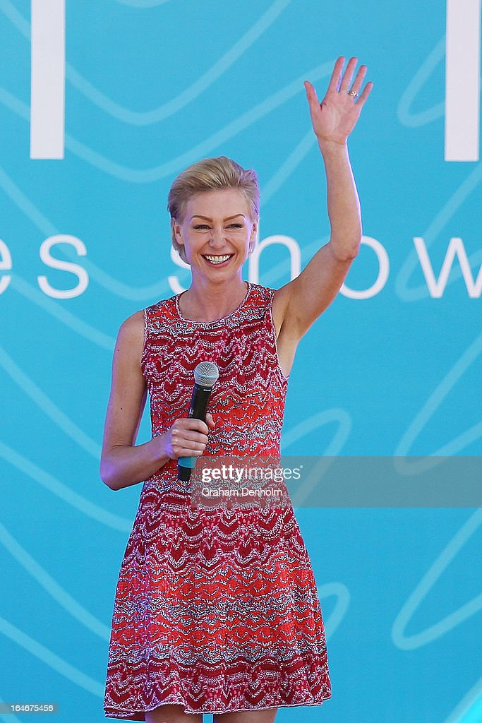 <a gi-track='captionPersonalityLinkClicked' href=/galleries/search?phrase=Portia+de+Rossi&family=editorial&specificpeople=204197 ng-click='$event.stopPropagation()'>Portia de Rossi</a> appears on stage during the filming of Ellen DeGeneres' television show at Birrarung Marr on March 26, 2013 in Melbourne, Australia. DeGeneres is in Australia to film segments for her TV show, 'Ellen'.