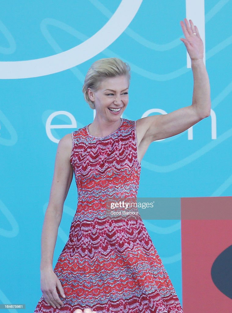 Portia de Rossi appears on stage during the filming of the Ellen television show at Birrarung Marr on March 26, 2013 in Melbourne, Australia. Ellen DeGeneres is in Australia to film segments for her TV show, 'Ellen'.