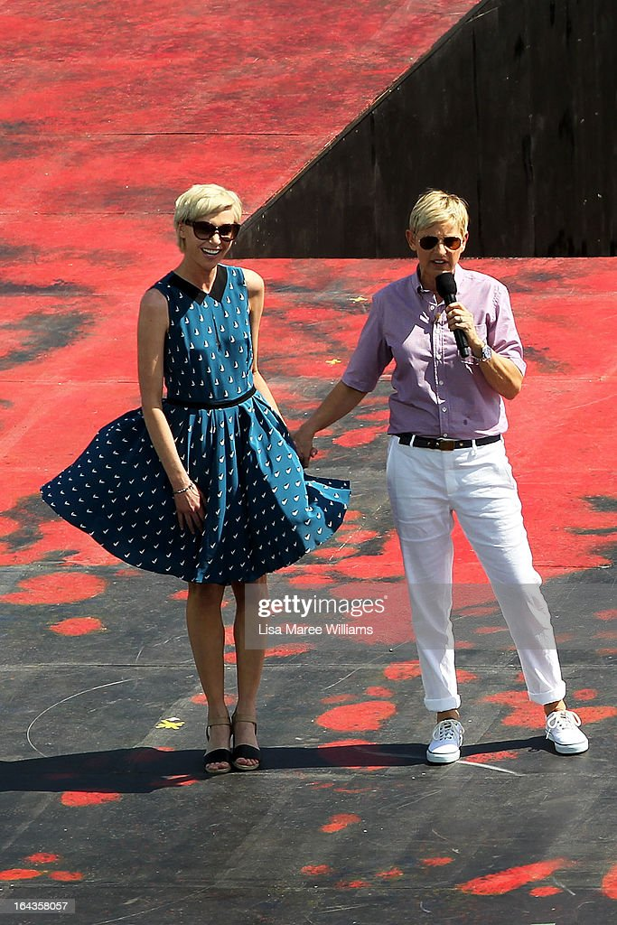 Portia di Rossi and partner <a gi-track='captionPersonalityLinkClicked' href=/galleries/search?phrase=Ellen+DeGeneres&family=editorial&specificpeople=171367 ng-click='$event.stopPropagation()'>Ellen DeGeneres</a> appear on stage during the filming of Ellen's television show on a floating stage above Sydney Harbour on March 23, 2013 in Sydney, Australia. DeGeneres is in Australia to film segments for her TV show, 'Ellen'