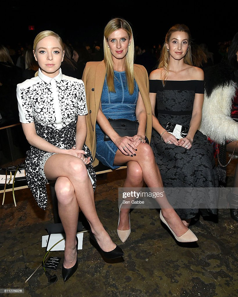 Portia Doubleday, Nicky Hilton and Whitney Port attend the J. Mendel fashion show during Fall 2016 New York Fashion Week at Cedar Lake on February 18, 2016 in New York City.
