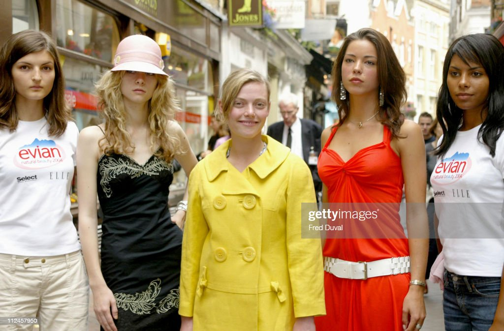 Portia Freeman and Camilla Rutherford with Evian Models