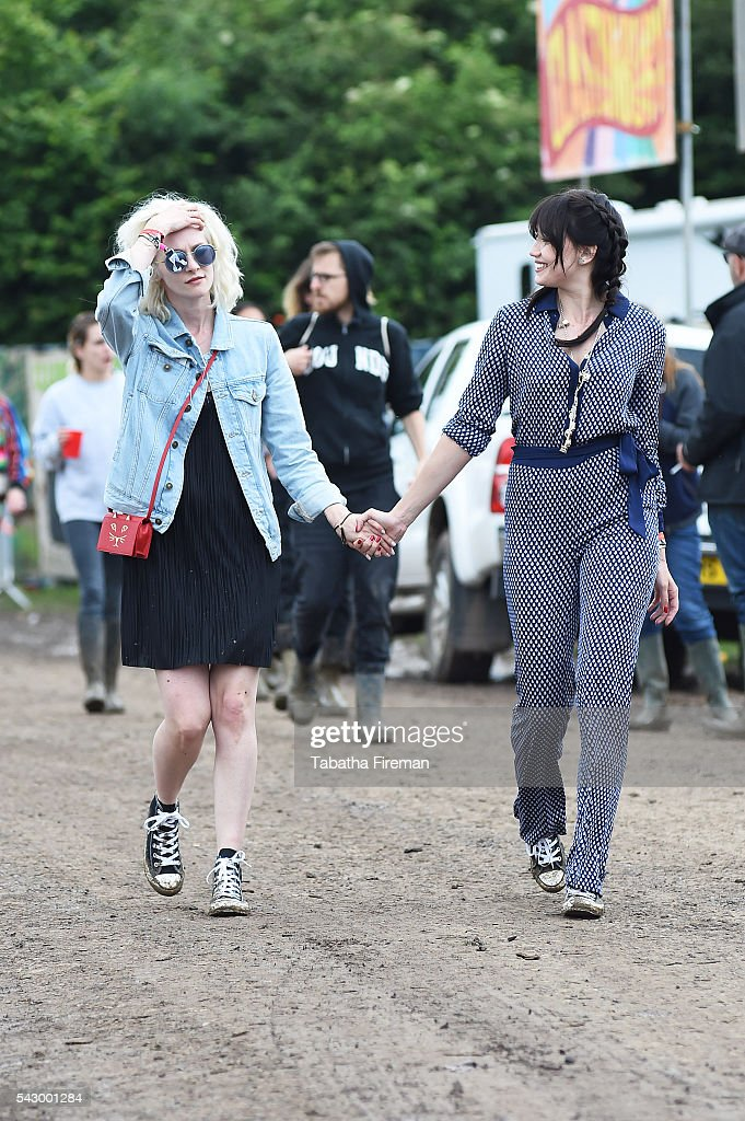 Portia Freeman and Daisy Lowe wear Converse at Glastonbury Festival 2016 at Glastonbury Festival Site on June 25, 2016 in Glastonbury, England.