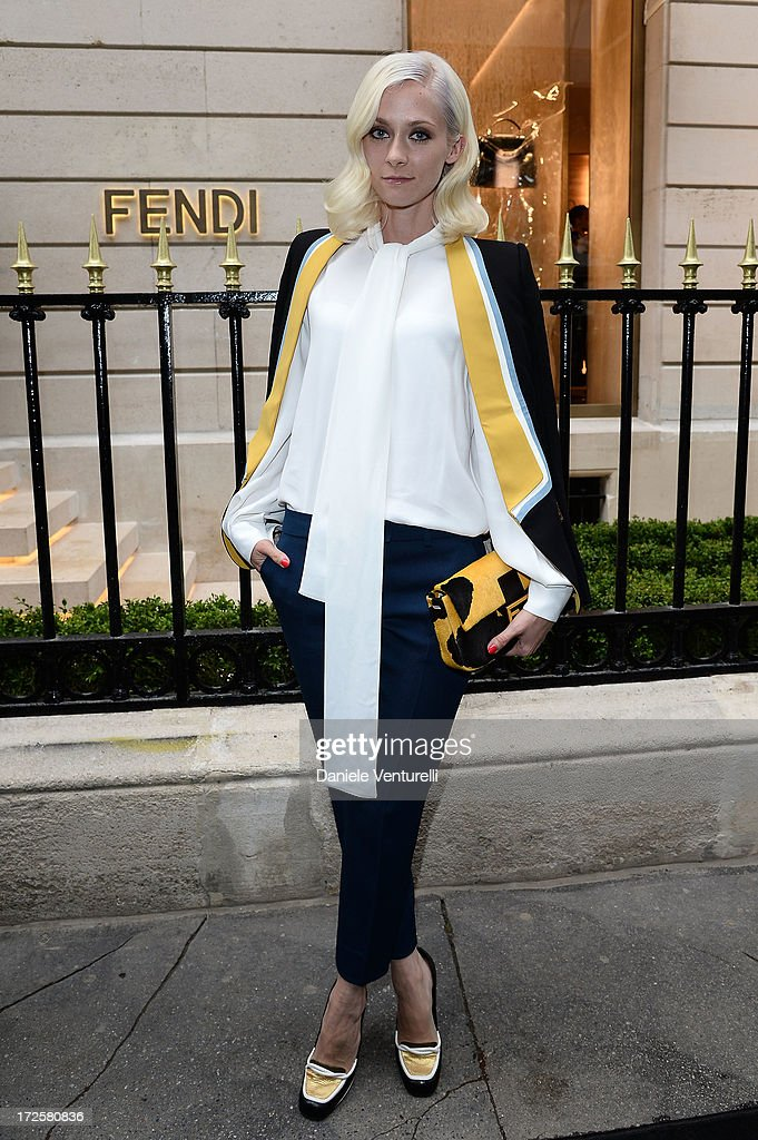 <a gi-track='captionPersonalityLinkClicked' href=/galleries/search?phrase=Portia+Freeman&family=editorial&specificpeople=2348960 ng-click='$event.stopPropagation()'>Portia Freeman</a> attends the opening of Fendi's new boutique at 51 Avenue Montaine on July 3, 2013 in Paris, France.