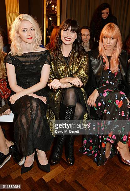 Portia Freeman Daisy Lowe and Amber Le Bon attend the Emilio de la Morena show during London Fashion Week Autumn/Winter 2016/17 at Hotel Cafe Royal...