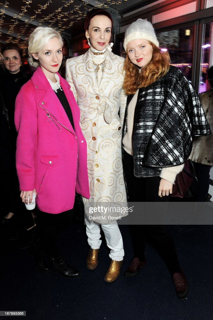Portia Freeman, L'Wren Scott and Lily Cole attend the VIP launch of 'Coach Presents Skate' at Somerset House on November 13, 2013 in London, England.