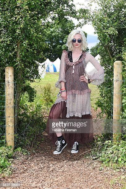 Portia Freeman wears Converse at Glastonbury Festival 2016 at Glastonbury Festival Site on June 24 2016 in Glastonbury England