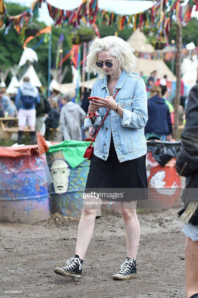 Portia Freeman wears Converse at Glastonbury Festival 2016 at Glastonbury Festival Site on June 25, 2016 in Glastonbury, England.