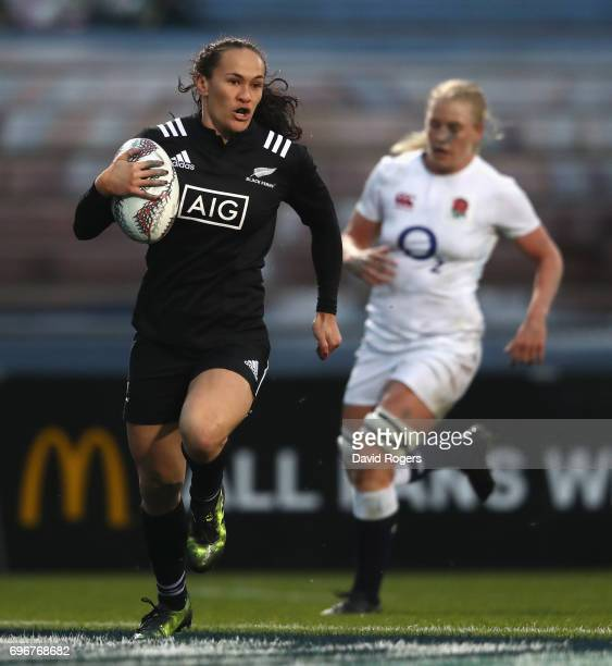 Portia Woodman of New Zealand breaks clear to score their second try during the International Test match between the New Zealand Black Ferns and the...