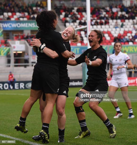 Portia Woodman of New Zealand celebrates with teammates after scoring her fourth try during the Women's Rugby World Cup 2017 Semi Final match between...