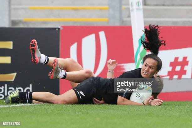 Portia Woodman of New Zealand dives over to score her third try during the Women's Rugby World Cup 2017 Semi Final match between New Zealand and the...