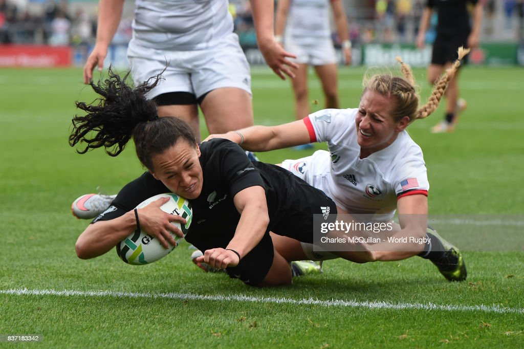 Portia Woodman of New Zealand dives over to score her third try during the Women's Rugby World Cup 2017 Semi Final match between New Zealand and the United States at the Kingspan Stadium on August 22, 2017 in Belfast, United Kingdom.