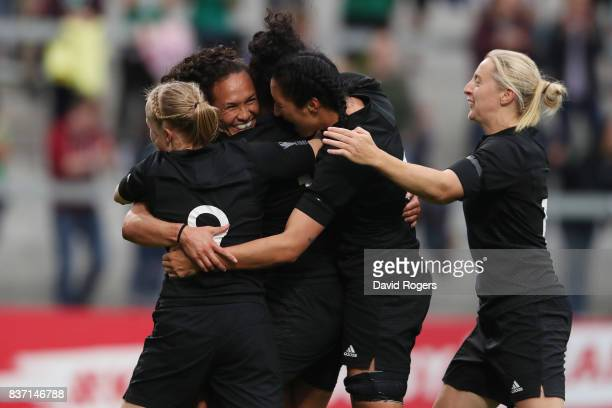 Portia Woodman of New Zealand is congratulated by teammates after scoring her team's second try during the Women's Rugby World Cup 2017 Semi Final...