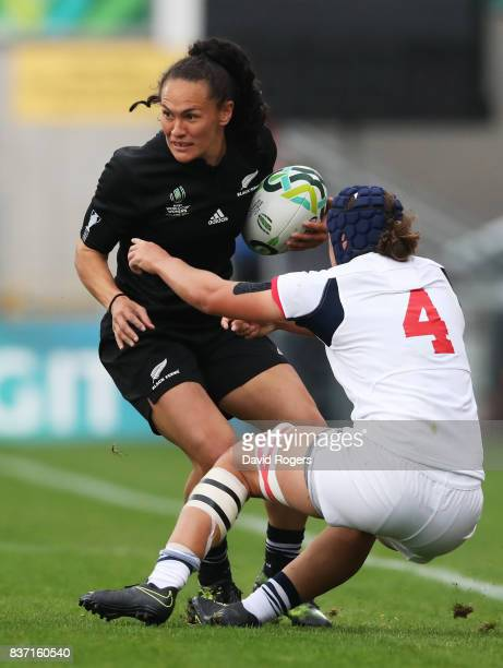 Portia Woodman of New Zealand is tackled by Stacey Bridges of the United States during the Women's Rugby World Cup 2017 Semi Final match between New...