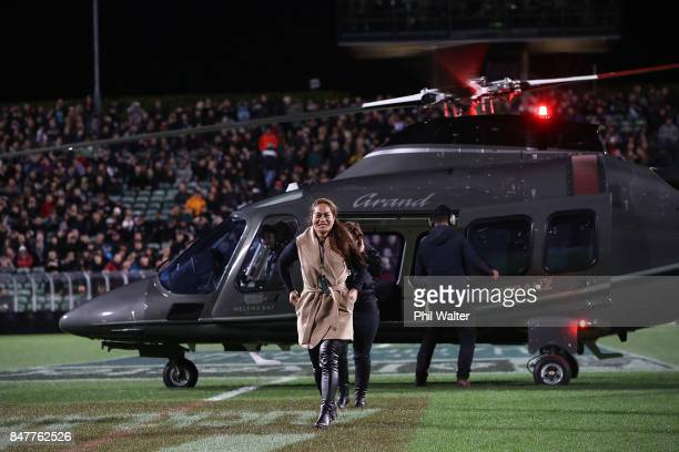 Portia Woodman of the Black Ferns arrives by helicopter before the Rugby Championship match between the New Zealand All Blacks and the South African...