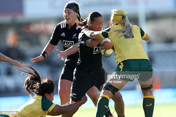 Portia Woodman of the Black Ferns is tackled during the international womens Test match between the New Zealand Black Ferns and the Australian...