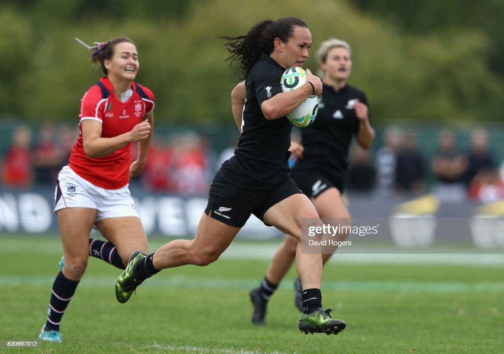 Portia Woodman of the New Zealand Black Ferns breaks clear to score one of her eight tries during the Women's Rugby World Cup 2017 Group A match between New Zealand and Hong Kong at Billings Park UCD on August 13, 2017 in Dublin, Ireland.