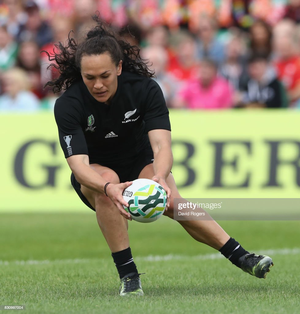Portia Woodman of the New Zealand Black Ferns scores one of her eight tries during the Women's Rugby World Cup 2017 Group A match between New Zealand and Hong Kong at Billings Park UCD on August 13, 2017 in Dublin, Ireland.