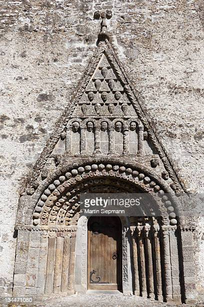 Portico with pediment, St. Brendan's Cathedral, Clonfert Cathedral, County Galway, Connacht, Republic of Ireland, Europe