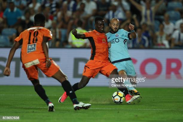 Portimonense SC defender Felipe Macedo from Brazil vies with FC Porto midfielder Andre Andre from Portugal during the PreSeason Friendly match...
