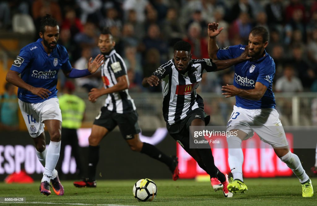 Portimonense SC forward Wilson Manafa from Portugal with CD Feirense defender Luis Rocha from Portugal in action during the Portuguese Primeira Liga match between Portimonense SC and CD Feirense at Estadio Municipal de Portimao on September 18, 2017 in Portimao, Portugal.