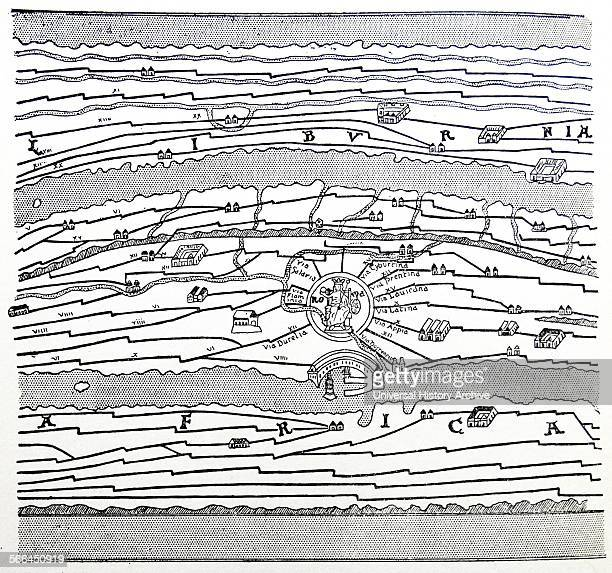 A portion of an old Roman map of the world showing the roads through the empire rivers mountains and the surrounding seas