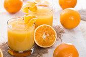 Portion of fresh made Orange Juice (with fruits)