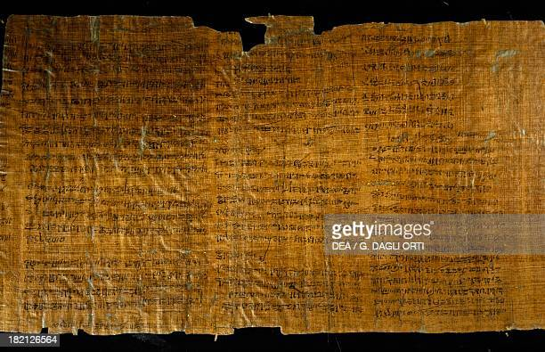 Portion of papyrus describing the agitation of the workers in charge of the construction of the Tomb of Ramesses III from Thebes Egyptian...