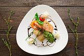 Seafood Wood Serving Creative Cuisine Gourmet Delicatessen Food Restaurant Concept