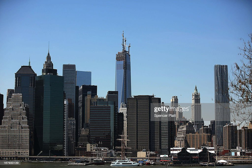 A portion of the 408-foot spire is seen after the last 75-foot section was hoisted onto a temporary platform on the top of One World Trade Center on May 2, 2013 in New York City. When bolted into place at a later date, the spire will make One World Trade Center the tallest building in the Western Hemisphere.The raising of the spire, which comes on the second anniversary of the death of Osama bin Laden, will make One World Trade Center 1,776 feet tall. One World Trade Center is built on the site where the September 11, 2001 attacks toppled the original World Trade Center towers.