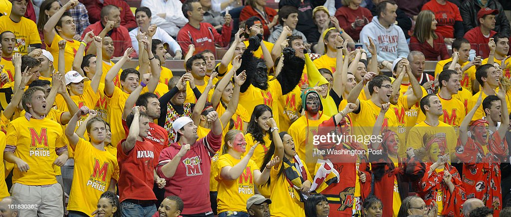 A portion of the Maryland crowd during the University of Maryland's defeat of Duke 83 - 81in NCAA mens basketball at the Comcast Center in College Park MD, February 16, 2012 .