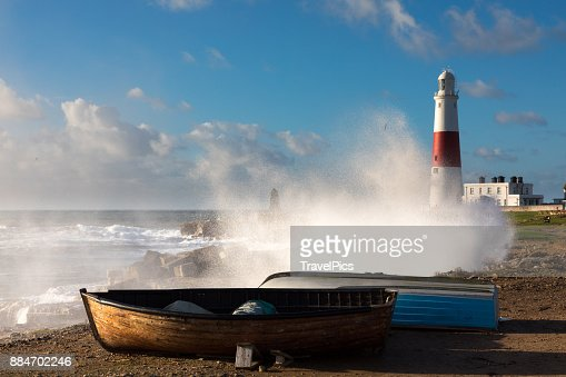 Portland Bill in Stormy weather : Stock Photo