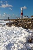 England Dorset Weymouth Portland Portland Bill in stormy weather