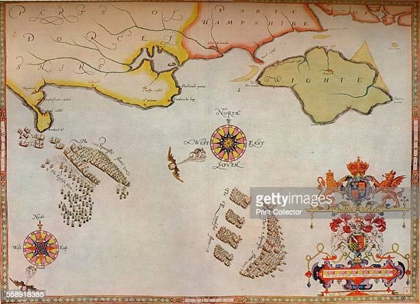 'Portland Bill to Portsmouth The pursuit of the Spanish Armada by the English Fleet' c1588 After Robert Adams From The Connoisseur Volume XCI edited...