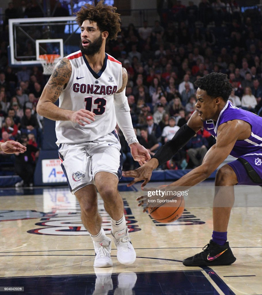 Portland guard Rashad Jackson (3) steals the ball from GU guard Josh Perkins (13) during the game between the Portland Pilots and the Gonzaga Bulldogs played on January 11, 2018, at McCarthey Athletic Center in Spokane, WA.