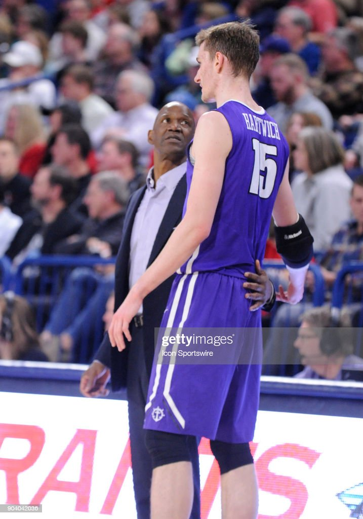 Portland head coach Terry Porter has a few words with Portland center Philipp Hartwich (15) during the game between the Portland Pilots and the Gonzaga Bulldogs played on January 11, 2018, at McCarthey Athletic Center in Spokane, WA.