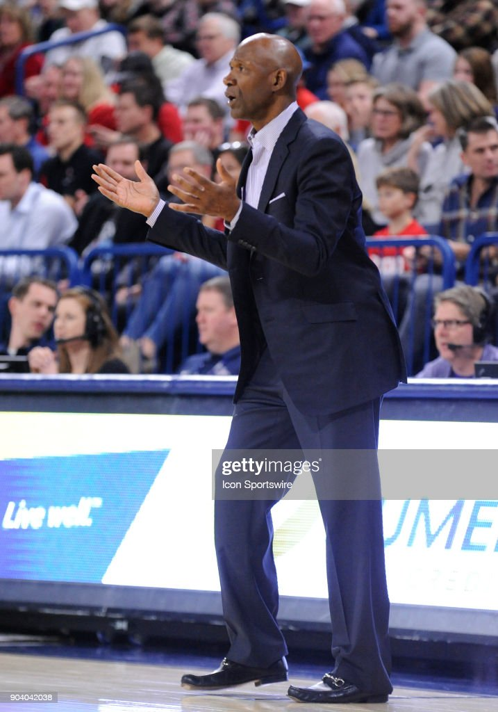 Portland head coach Terry Porter questions the officials during the game between the Portland Pilots and the Gonzaga Bulldogs played on January 11, 2018, at McCarthey Athletic Center in Spokane, WA.