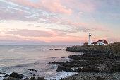 Portland Head light (lighthouse) sunset, Maine