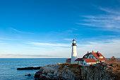 Portland Head Lighthouse on a clear, sunny fall day.