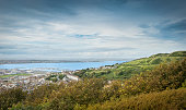 Panoramic View Of Chesil Beach And The Town Of Fortuneswell, Isle Of Portland,Dorset,UK.