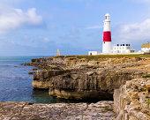 The lighthouse at Portland Bill on the Isle of Portland Dorset England UK