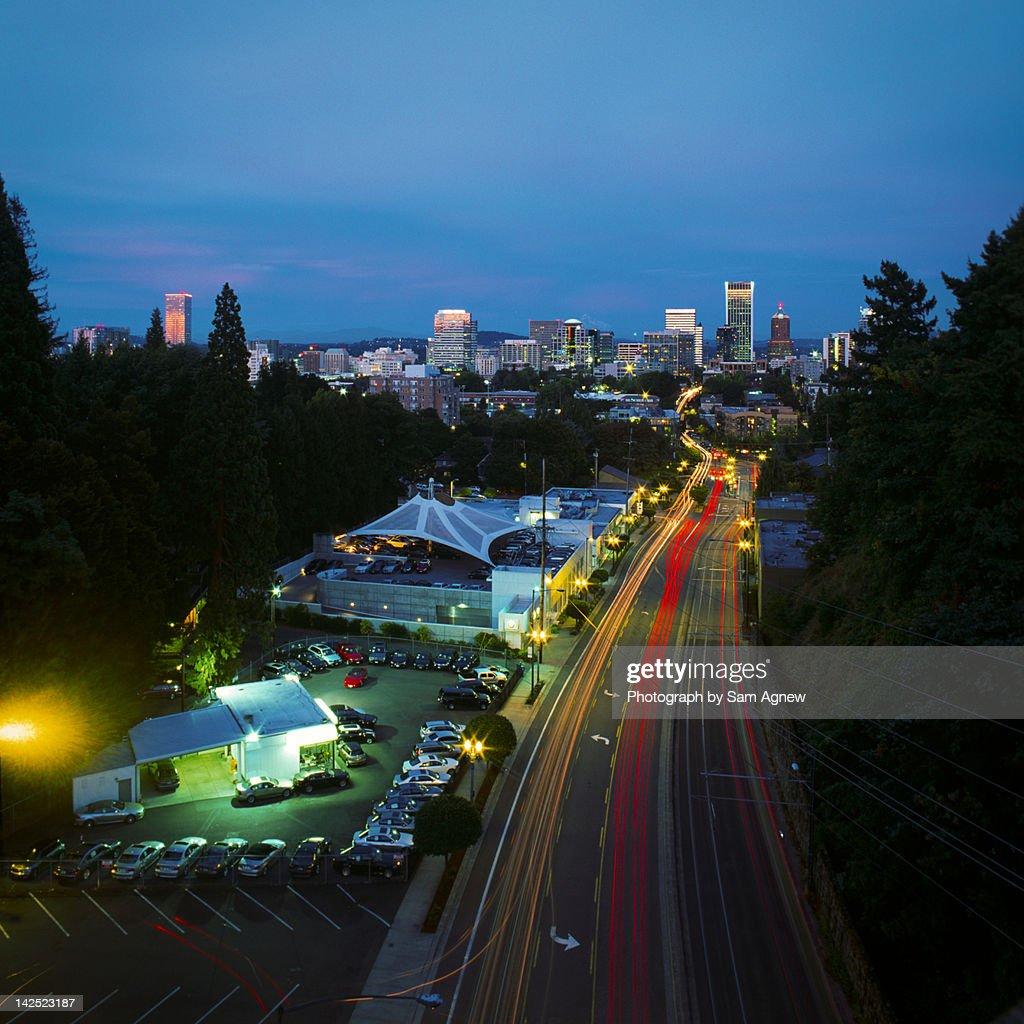 Portland night trails square : Stock Photo