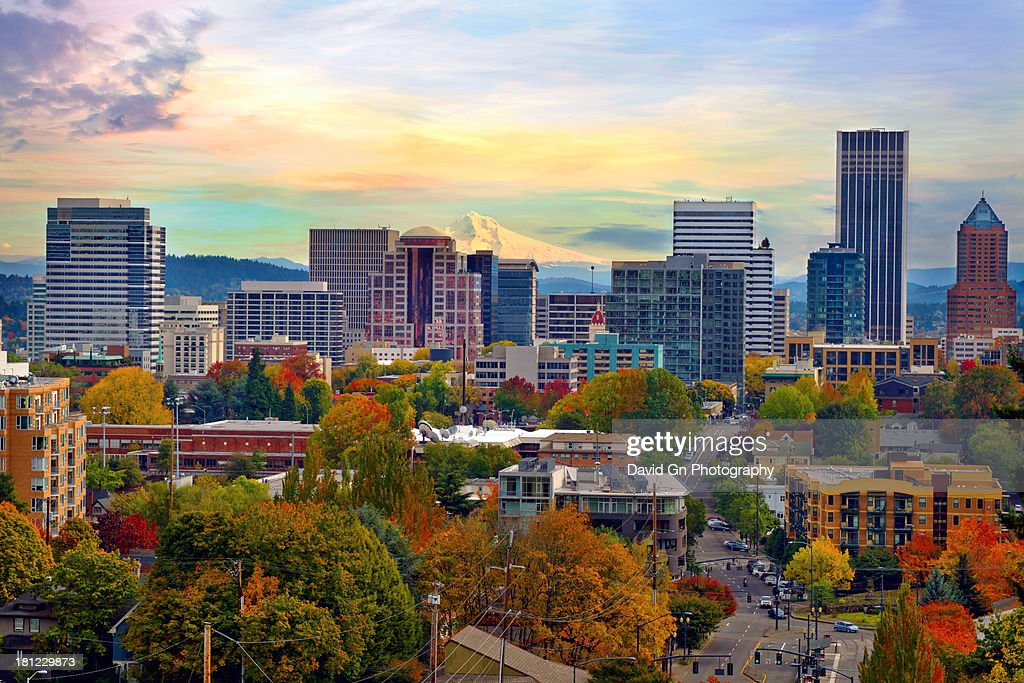 Portland Oregon Downtown Cityscape in the Fall : Stock Photo