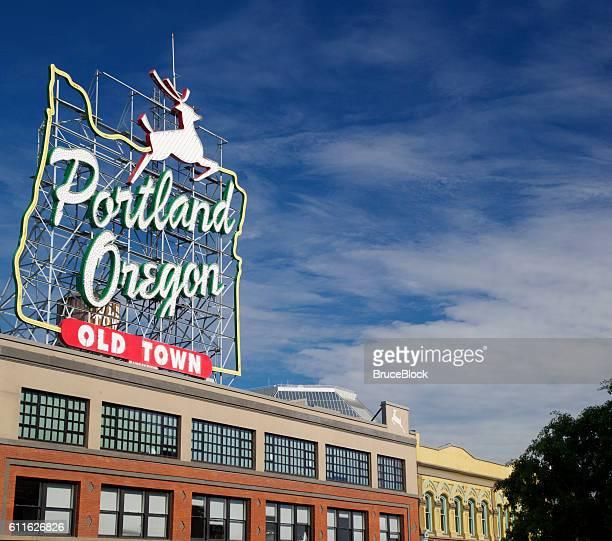 Portland Oregon Landmark Stag Sign in Old Town